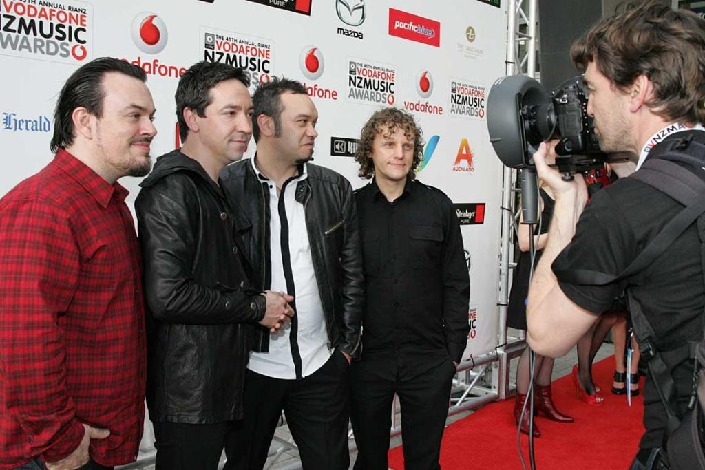 Shihad pose on the red carpet at the New Zealand Music Awards.