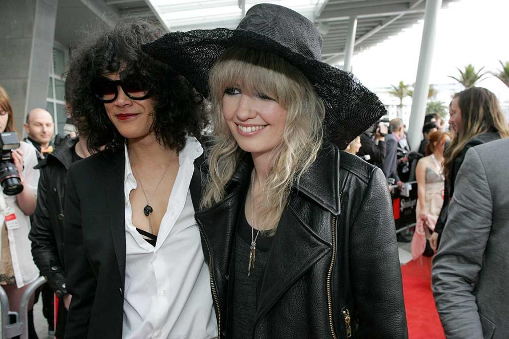 Ladyhawke and Liam Finn's partner Janina Percival arrive at the Vodafone New Zealand Music Awards.