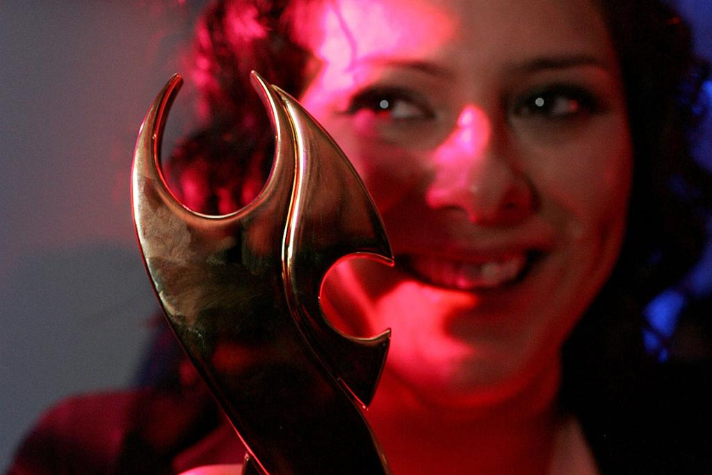 SINGER OF SONGS: Anika Moa celebrates her Tui for Best Female Solo Artist.