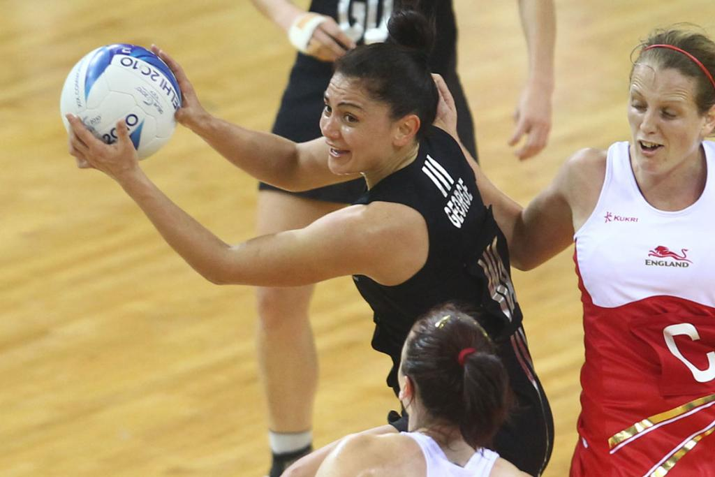 Temepara George in action against England at the Commonwealth Games.