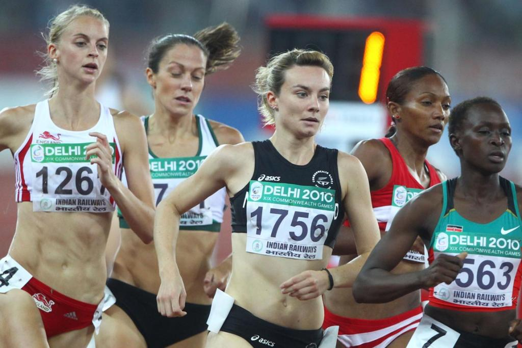 New Zealand's Nikki Hamblin runs in a heat of the women's 800 metres at the Commonwealth Games in Delhi.