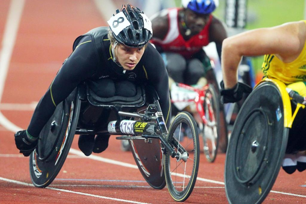 New Zealand's Matthew Lack competes in the men's 1500m T54 at the Commonwealth Games in Delhi.