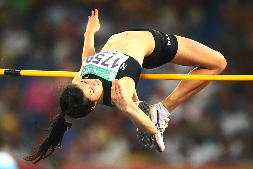 New Zealand's Liz Lamb competes in the women's high jump at the Commonwealth Games in Delhi.