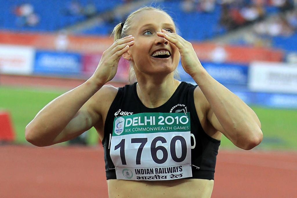 New Zealand's Andrea Miller after winning bronze in the women's 100m hurdles at the Commonwealth Games in Delhi.