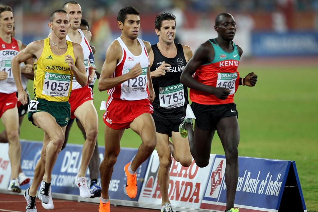 New Zealand's Adrian Blincoe runs in a heat of the men's 1500m at the Commonwealth Games in Delhi.