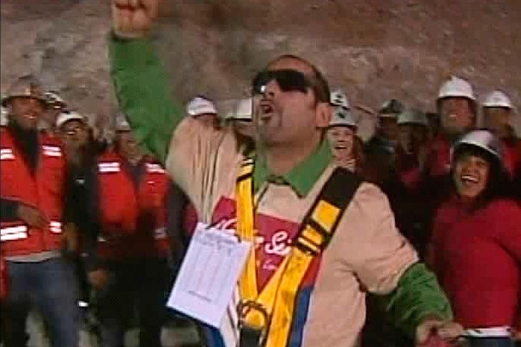WHOOP, WHOOP: Mario Sepulveda Espina, the second miner to be rescued, celebrates.