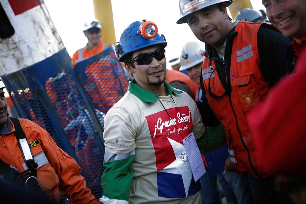Renan Avalos is seen after becoming the 25th miner to be rescued from the San Jose mine in Copiapo.