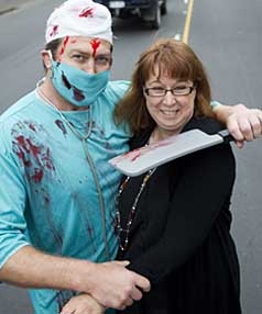 Wal Frith has a thirst for fake blood. He has a Halloween party on Saturday night and was looking for something else to wear until Gabrielle Heath of Petticoat Lane costume hire in Papanui showed him the 'insane surgeon' outfit with splattered blood.