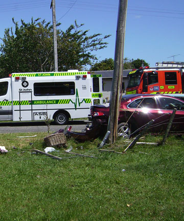 CRASH SCENE: Two women were hit by a car after its driver lost control and left the road at this site east of Otaki.