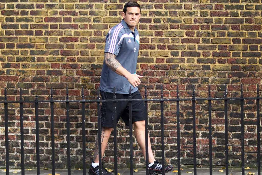 STEPPING OUT: Sonny Bill Williams enjoys the autumn colours in Kensington Park beside the Royal Garden Hotel in Kensington, High Street, London where the All Blacks are staying before playing the English rugby team at Twickenham.