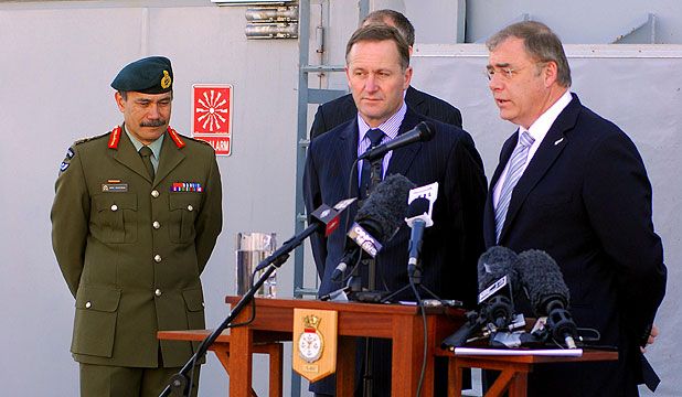 ATTENTION: Lieutenant-General Jeremiah Mateparae, Prime Minister John Key and Defence Minister Wayne Mapp talk to media representatives.