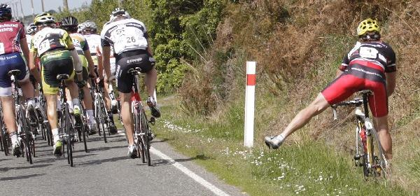 Paul Odlin has a close call during stage five of the Tour of Southland. (Image ID  624859606)