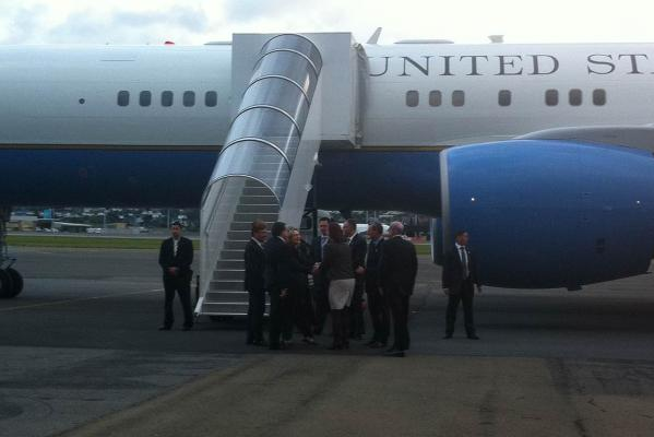 US Secretary of State Hillary Clinton arrives in Wellington.