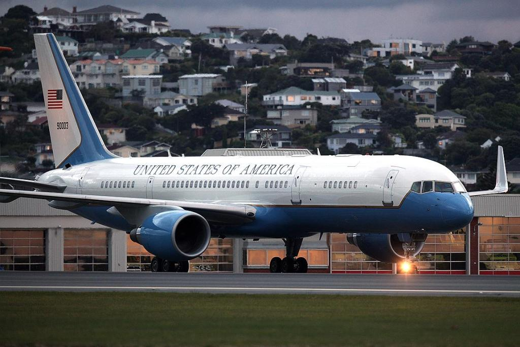 US Secretary of State Hillary Clinton's jet touches down at Wellington airport.
