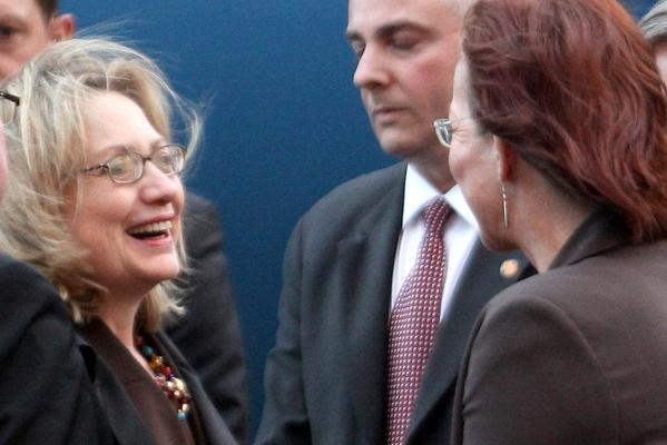 Hillary Clinton and Celia Wade-Brown