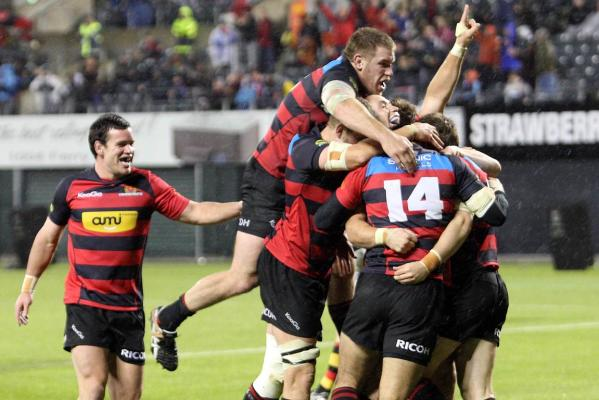 Canterbury players pile