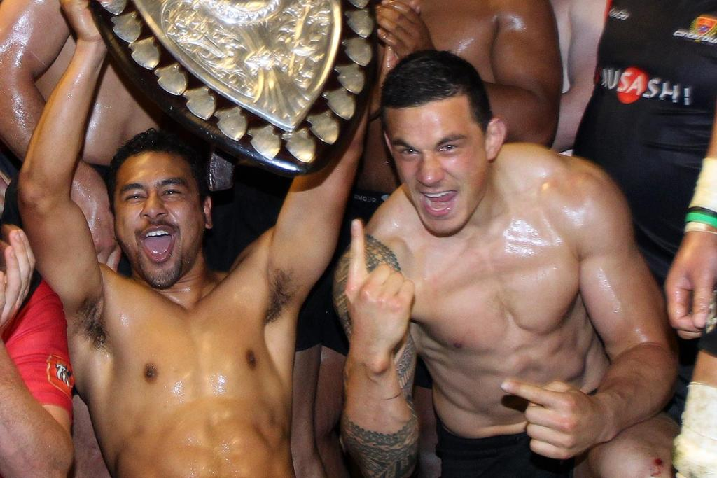 SHIELD WIN: Sonny-Bill Williams (right) celebrates after winning the Ranfurly Shield with Canterbury against Southland.