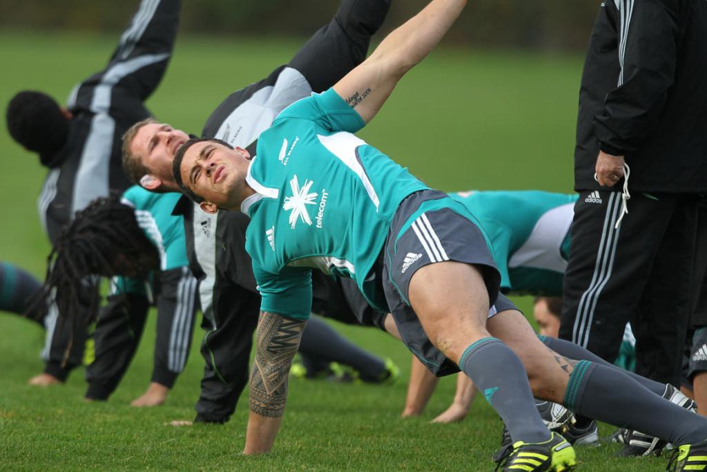 AND STRETCH: Sonny-Bill Williams stretches out during an All Blacks training session ahead of their test against England at Twickenham.
