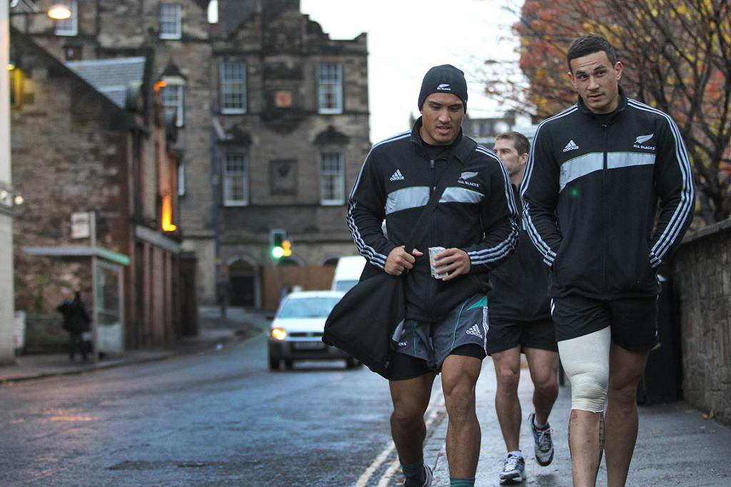 BRAVING SCOTLAND: All Blacks Hosea Gear and Sonny-Bill Williams walk through the streets of Edinburgh after a recovery session ahead of the test against Scotland.