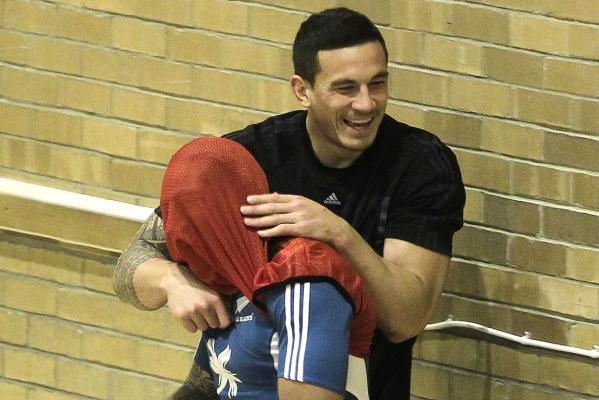 All Blacks Sonny Bill Williams and Ma'a Nonu celebrate after Nonu scored a goal in a game of indoor football during a recovery session in Edinburgh during the team's buildup a test against Scotland.