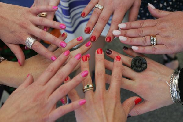 Painted nails in the fashion tent at the NZ Trotting Cup.