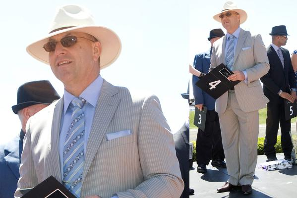Tim Norton, winner of the best dressed man competition at the NZ Trotting Cup.