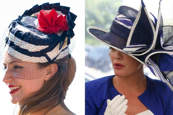 Paula Dockrill (left) models the best hat winner at the NZ Trotting Cup while at right Katie Luke gets ready for the best dressed woman event.