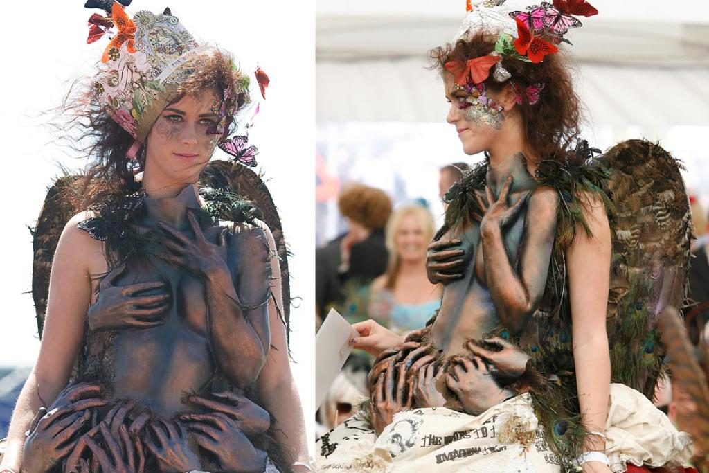 Kendal McSorley models Melodie McColl's winning design in The Breeze Artwear competition at the NZ Trotting Cup.