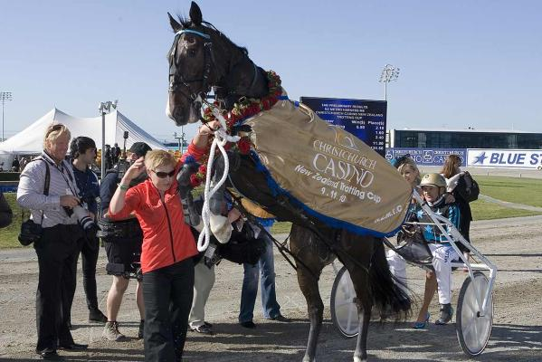 Monkey King performs after taking out the 2010 NZ Trotting Cup.