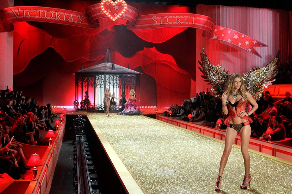 FRONT ROW SEAT: A model walks down the catwalk at the Victoria's Secret Fashion Show in New York.