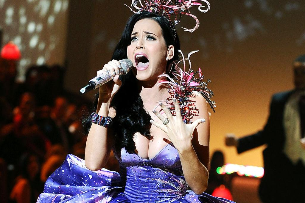LET IT OUT: Katy Pery performs during the Victoria's Secret Fashion Show.