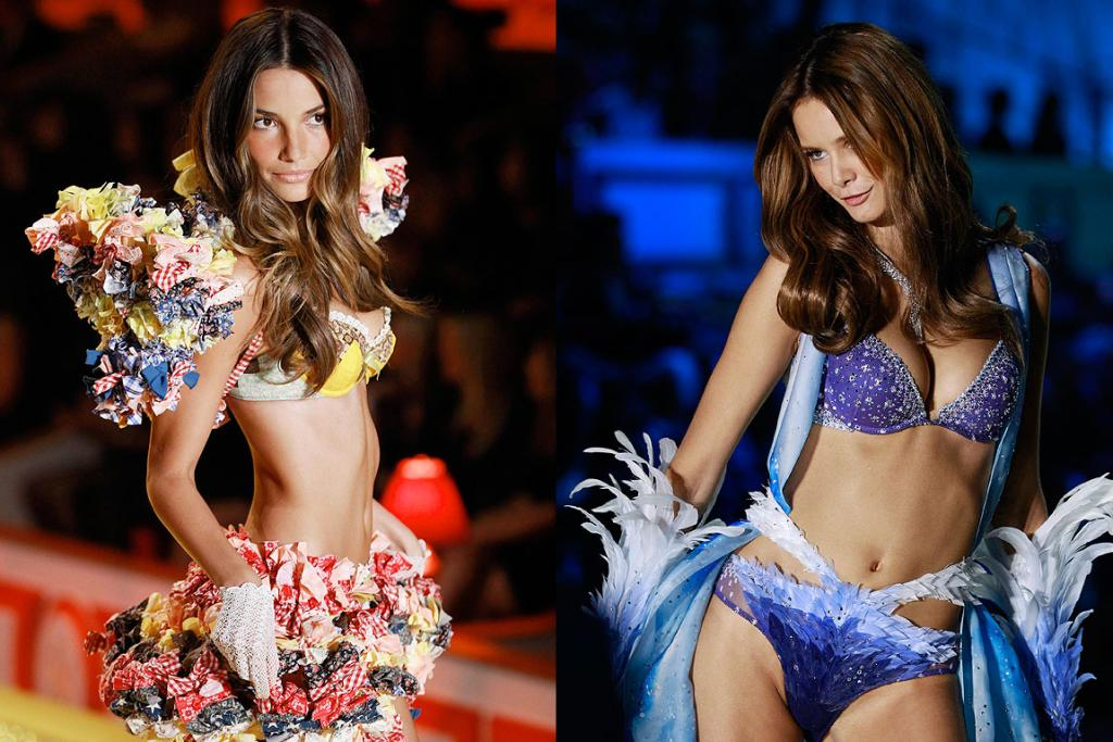 IT TAKES TWO: Models present creations as part of the Victoria's Secret Fashion Show in New York.