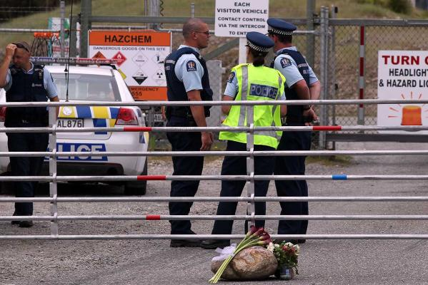 TRIBUTE: Flowers left at the first gate into the Pike River mining site.