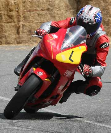 STREET APPEAL: Australian rider Doug Wood competes at the Wyndham Street Race yesterday. Wood has made the trek from Melbourne to Southland for every Burt Munro Challenge since its inception five years ago.