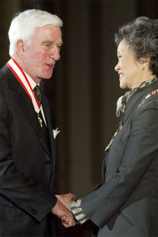 Actor and Comedian Leslie Nielsen becomes an officer in the Order of Cana by then Governer General Adreinne Clarkson in 2003.