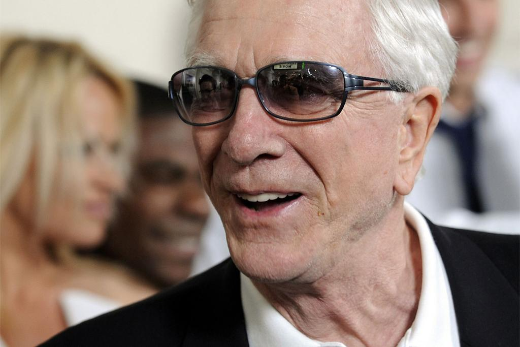"Comic Actor Leslie Nielsen arriving at the premiere of 2007 film ""Superhero Movie."""