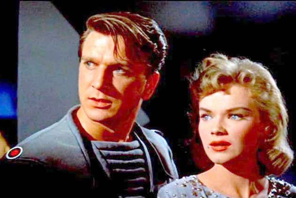 OIL JOB: Leslie Nielsen and Anne Francis in the 1956 sci-fi classic Forbidden Planet.