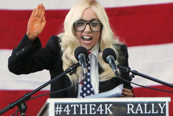 Reuters Images of the Year, photo of Lady Gaga giving speech at rally.