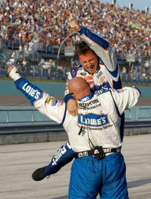 Reuters Images of the Year, photo of Jimmie Johnson's Pit crew members celebrating.