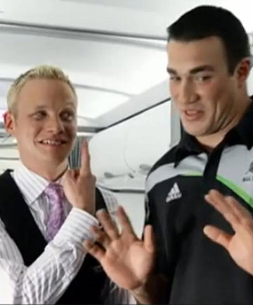 TO BE CUT: A scene from  the Air New Zealand in-flight safety video, with flight attendant Will Coxhead and All Black Richard Kahui, that is to be edited out.