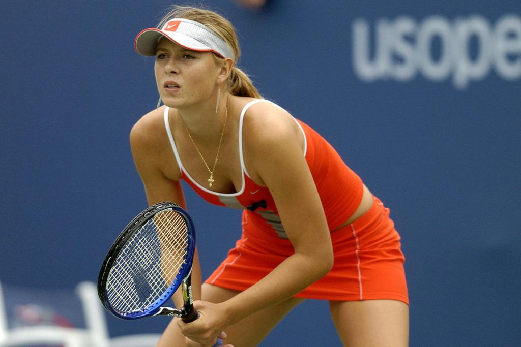 Maria Sharapova in the second round of the mixed doubles at the 2004 US Open in New York.