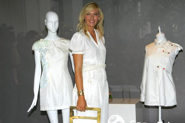 Maria Sharapova, international tennis star and global brand ambassador for Sony Ericsson, strikes a pose in the window of Liberty store as she unveils winning designs from students at the London College of Fashion in 2009.