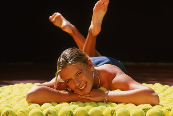 Maria Sharapova poses during a photo feature in Indian Wells, California in 2002.