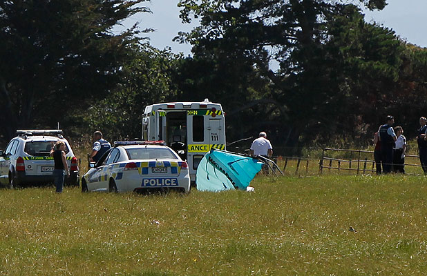 CHRISTMAS TRAGEDY: Police, ambulance and fire services attend a fatal kiteboarder crash at Wakapuaka, near Nelson.