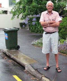 NO PARKING: Frieston Rd resident Derek Barratt-Boyes is one of many people who want to see a new no-parking zone removed from their street.