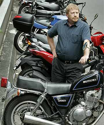 SHRINKING SPACE: Brent Hutchison is concerned city motorcycle parks may disappear.
