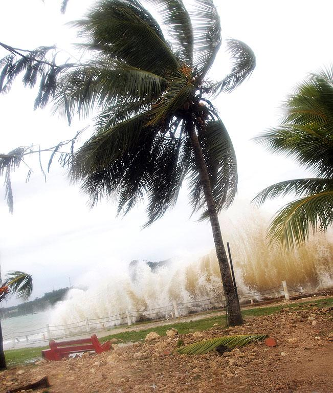 GROWING FORCE: Vania - the first tropical cyclone named in the current South Pacific cyclone season - hitting Vanuatu's capital of Port Vila.