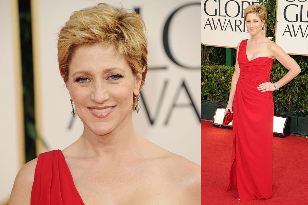 RED DELIGHT: Edie Falco arrives at the 2011 Golden Globes ceremony.