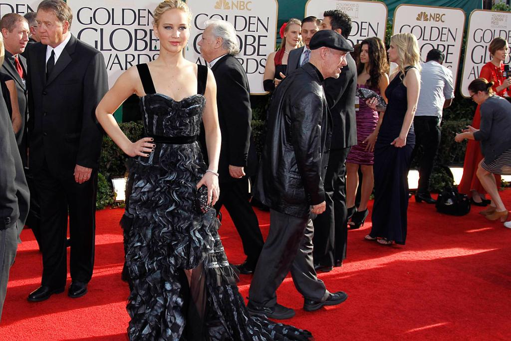 ALL RUFFLED UP: Actress Jennifer Lawrence arrives at the 68th annual Golden Globes Awards.