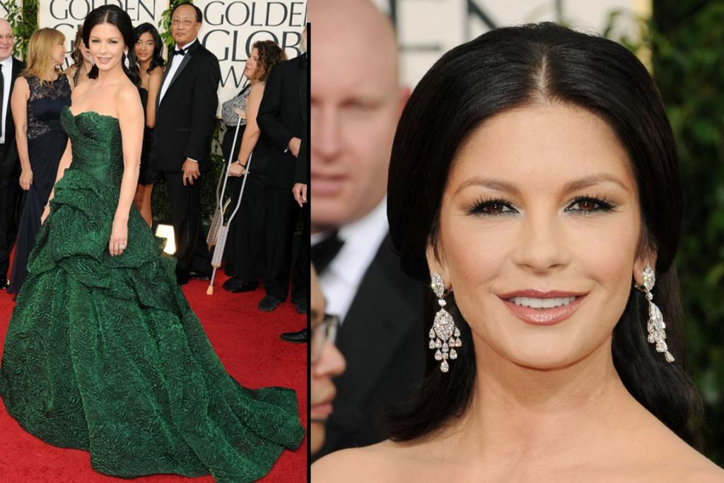 FOREST GREEN: Actress Catherine Zeta-Jones arrives at the 68th Annual Golden Globe Awards.